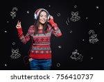 enjoyable christmas melodies.... | Shutterstock . vector #756410737