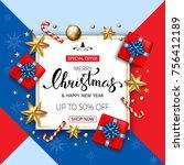 merry christmas sale banner... | Shutterstock .eps vector #756412189