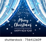 festive background with blue... | Shutterstock .eps vector #756412609