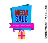 sale banner with gift box.... | Shutterstock .eps vector #756413581