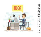 businessman character with...   Shutterstock .eps vector #756413644