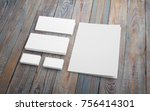 stationery set on wooden desk.... | Shutterstock . vector #756414301