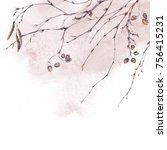 watercolor spring botanical... | Shutterstock . vector #756415231