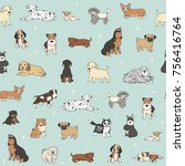 cartoon doodle puppy dog... | Shutterstock .eps vector #756416764