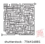 intricate maze game  labyrinth... | Shutterstock .eps vector #756416881