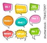 colorful balloon speech bubbles ...   Shutterstock .eps vector #756417097