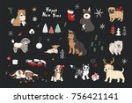 merry christmas puppy dogs... | Shutterstock .eps vector #756421141
