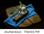 water in a glass on a wooden... | Shutterstock . vector #756431749