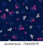 seamless floral pattern in... | Shutterstock .eps vector #756433579