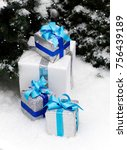 christmas   new year presents... | Shutterstock . vector #756439189