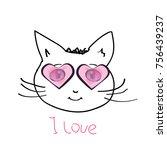 abstract cat head  sketch ...   Shutterstock . vector #756439237