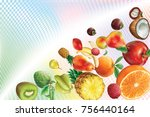 colorful fruits on a...   Shutterstock .eps vector #756440164