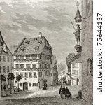 Small photo of Old illustration of Albrecht Durer house and Martin Koetzel statue in Nuremberg, Germany. Created by Th?rond and Terington, published on Le Tour du Monde, Paris, 1864