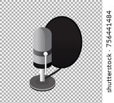 isometric podcast icon  vector... | Shutterstock .eps vector #756441484