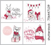 merry christmas 2018 collection ... | Shutterstock .eps vector #756447139