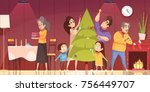 family decorating fir tree and... | Shutterstock .eps vector #756449707