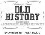 font alphabet handcrafted... | Shutterstock .eps vector #756450277