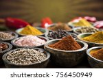 variety of spices and herbs on... | Shutterstock . vector #756450949