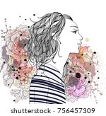 beautiful fashion woman with... | Shutterstock .eps vector #756457309