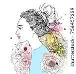 beautiful fashion woman with...   Shutterstock .eps vector #756457339