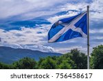 scotland flag waving wind...