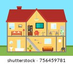 furniture on house in cut with... | Shutterstock .eps vector #756459781