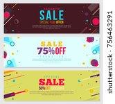 memphis style banner design set ... | Shutterstock .eps vector #756463291
