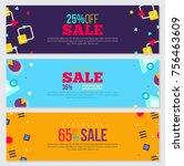 memphis style banner design set ... | Shutterstock .eps vector #756463609