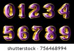 vector gold numbers  0  1  2  3 ... | Shutterstock .eps vector #756468994