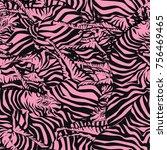 pink striped seamless pattern ... | Shutterstock .eps vector #756469465