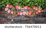 christmas tree branches with... | Shutterstock . vector #756470011
