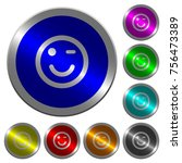winking emoticon icons on round ...   Shutterstock .eps vector #756473389
