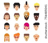 set of different characters... | Shutterstock .eps vector #756485041