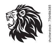lion roaring vector icon logo... | Shutterstock .eps vector #756486385