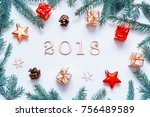 new year 2018 background with... | Shutterstock . vector #756489589
