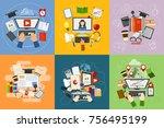 online education vector concept ... | Shutterstock .eps vector #756495199