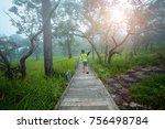 a children walk a way in forest ... | Shutterstock . vector #756498784