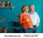pregnant older woman with male... | Shutterstock . vector #756516787