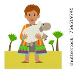 joseph with his colorful coat... | Shutterstock .eps vector #756519745