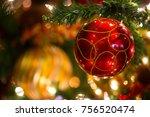 red glittery christmas ornament ... | Shutterstock . vector #756520474