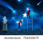 two brothers in christmas night ... | Shutterstock . vector #756520675