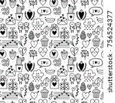 hand drawn romantic seamless... | Shutterstock .eps vector #756524377
