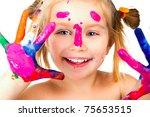 little girl with paint over... | Shutterstock . vector #75653515