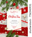 holiday christmas card with fir ... | Shutterstock .eps vector #756540931