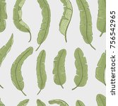 tropical or exotic leaves.... | Shutterstock .eps vector #756542965