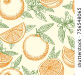 orange fruit hand drawn pattern.... | Shutterstock .eps vector #756548065
