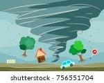 tornado hit the town | Shutterstock .eps vector #756551704