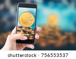 euro money in coins on the...   Shutterstock . vector #756553537