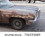 old rusty bonneville car in the ... | Shutterstock . vector #756555889