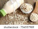 soymilk and barley seed   Shutterstock . vector #756557989